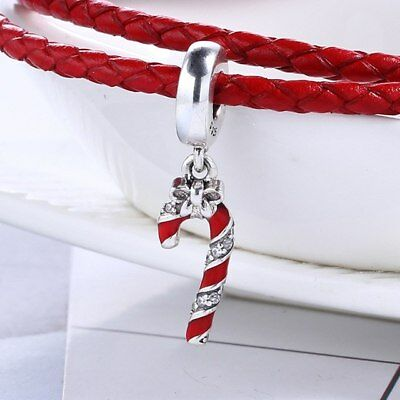 Authentic Pandora Sterling Silver Dangle Candy Cane Bead 791193EN09 Charm  - Candy Charm