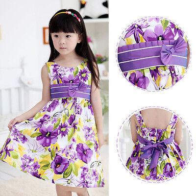 Fashion Girls Dress Purple Bow Tie Flower Print Party Kids Sundress For 4 12Y