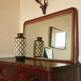 Antique overmantle mirror (Tunbridge inlay)