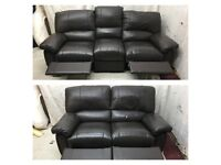 Brown leather 3/2 seater manual recliner sofas excellent condition