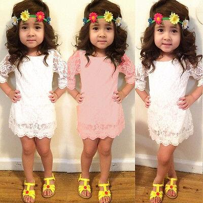 Long Dress Girl (Floral Baby Girl Kid Princess Long Sleeve Party Tutu Lace Short Mini Dress)