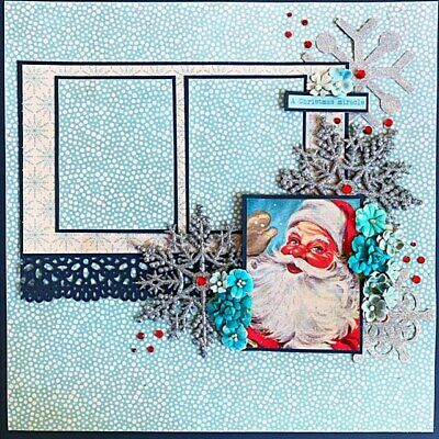 Handmade CHRISTMAS MIRACLE Santa Authentique12x12 Premade Scrapbook Layout Page 12x12 Page Layout Scrapbook