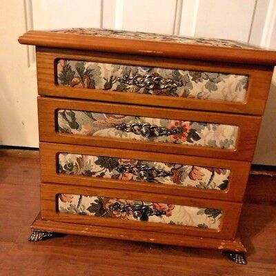 Powell Tapestry Four Compartment Jewelry Box Armoire Claw Feet Tabletop - Tabletop Jewelry Box