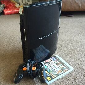 PlayStation 3 with controller and game (Grand Theft Auto 5)
