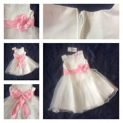 (Girls Christening Bridesmaid Party Dress Bow Tutu Wedding Flower Girl Tulle )