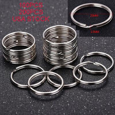 100-200PCS Key Rings Chains Split Ring Hoop Metal Loop Steel Accessories 25mm