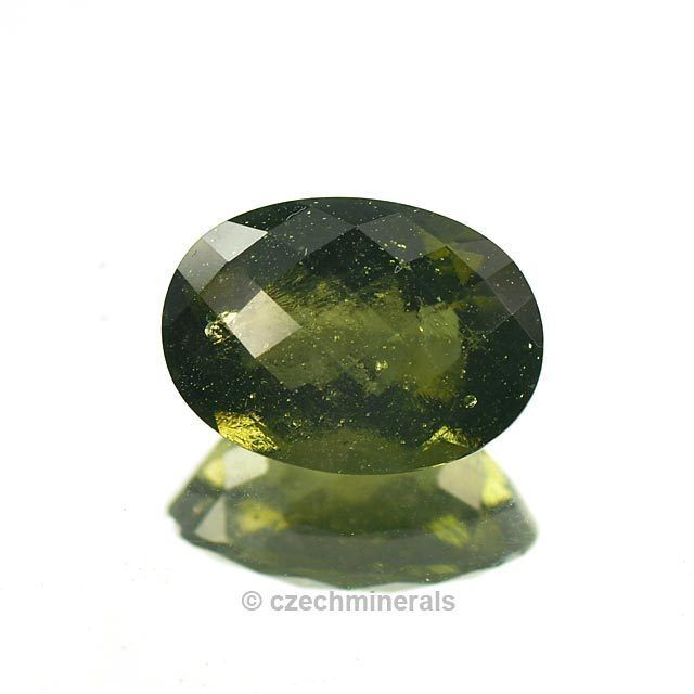 4.95cts oval checker top cut 10x14mm moldavite faceted cutted gem BRUS823