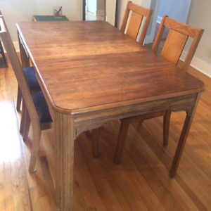 All Wood Dining Room Table And Five Chairs
