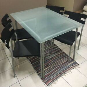 "1 table ""only"" (no chairs) with tempered glass top"