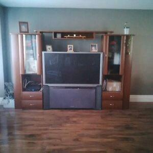 "55"" Hitachi Ultra Vision TV and 3pc Wood Wall Unit"