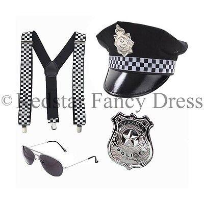 Herren Polizei Kostüm Klammern Hut Polizeimann Polizist handschelllen