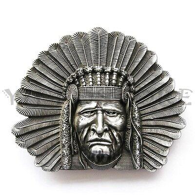 Indian Chief Head Western Indian  Metal Fashion Belt Buckle