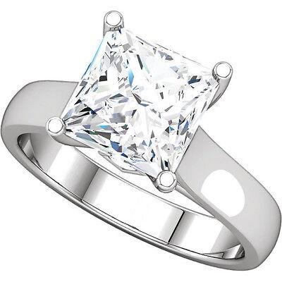 1.52 carat center Princess cut Diamond GIA F color VS1 14k Gold Engagement Ring