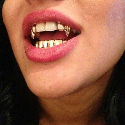 Custom 14K Gold GP Bottom Lower Teeth Grillz & Upper Top Double Fangs 3pc - Fangs Gold Teeth