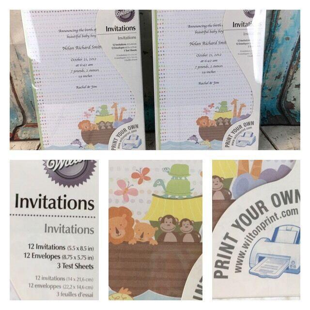 Wilton Birth Announcement Cards Lot of 2 ~ 24 Total Cards w/ Envelopes Noahs Ark
