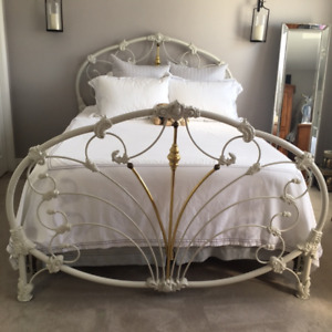 Wrought Iron Queen Bed Frame - includes bed rails
