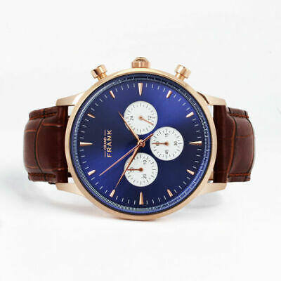 Grand Frank Watches Chrono Montpellier Blue  Men's luxury Watch *New In Box for sale  Shipping to India