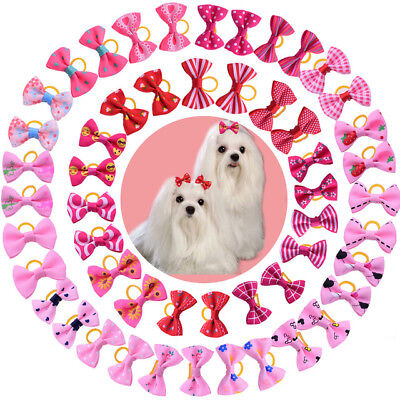 10 X pink-red shades Pet Cat Dog Hair Bows Rubber Grooming Accessories Animal