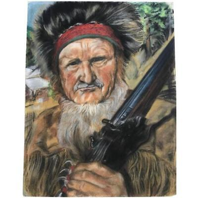 Original Pastel Drawing Portrait of a Mountain Man Vintage Western Art