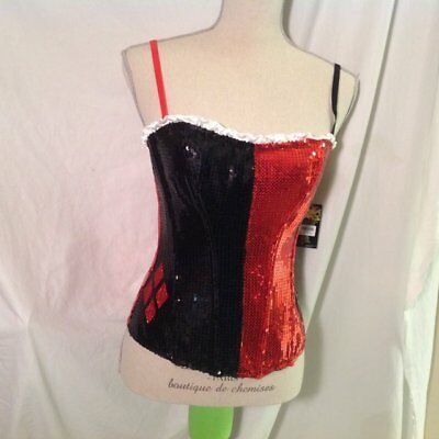 Harley Quinn Halloween Large Queen Hearts Bustier Red Black Costume Wonderland