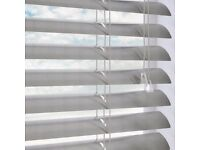 Three silver grey Venetian blinds in good condition