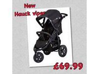 Brand new Hauck viper three wheeler pram pushchair with big wheels from birth