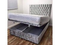 Storage Bed..Crushed Velvet.Double, Kingsize.Fabric Base