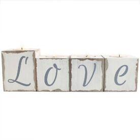 Love block tealight holder New still in box