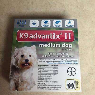 K9 Advantix II Flea & Tick Treatment for Medium Dogs 11-20 lbs - 4 Pack