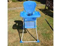 "Mamas & Papas "" Junior"" folding high chair, blue, with harness"
