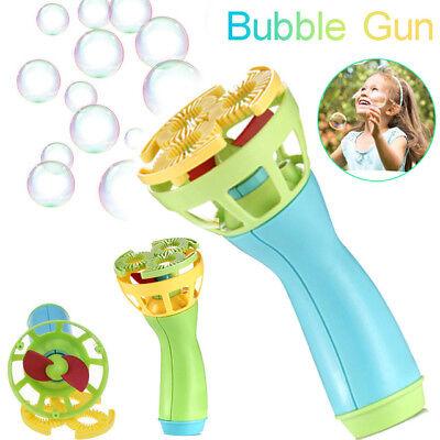 Plastic Electric Automatic Bubble Machine Fan Gun Blower Maker Kids Playing Toys