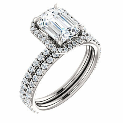2.10 Ct Natural Emerald Cut Halo w/ Bow Diamond Engagement Ring F/VS2 GIA 14kwg 3