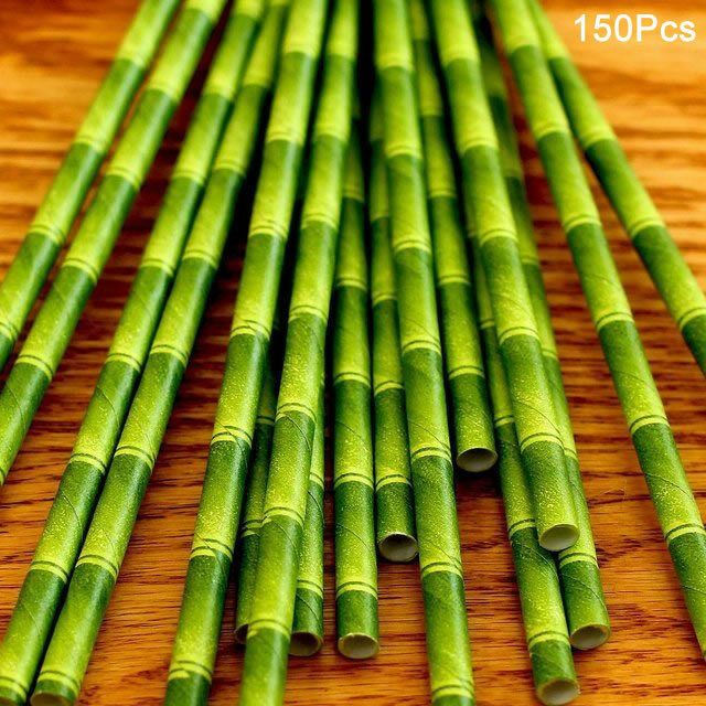150Pcs Green Bamboo Style Paper Straws Retro Drinking Eco Friendly Kids Party