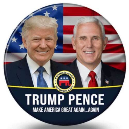 Donald Trump Mike Pence For President American Flag 2.25 Inch Pinback Button Pin