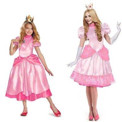 Super Mario Brothers-Princesse Peach Deluxe Adulte Women Kids Girl - Girls Mario Kostüm