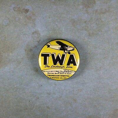 "Vintage Style Advertising  Pinback Button  1""  TWA Lindbergh Line Ford Tri Motor"