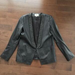 Sandro Black Leather Studded Shawl Blazer / Cuir Manteau Noir