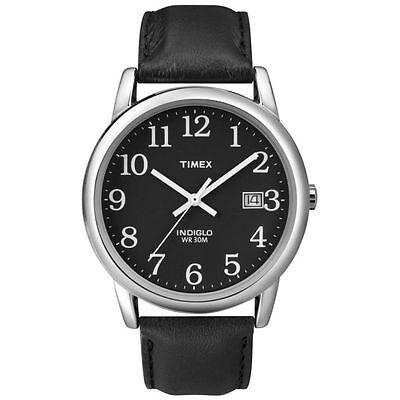 Timex T2N370, Men's Easy Reader, Black Leather Watch, Indiglo, Date T2N3709J