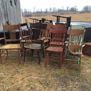 Antique Press Back Chairs & Lathe