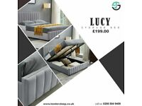 PLUSH VELVET DOUBLE AND KING SIZE LUCY STORAGE BED FRAME OPT MATTRESS