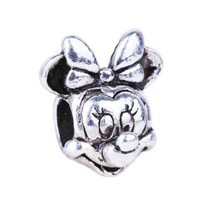 Minnie Mouse Head Silver Charm Bead European bracelets Disney
