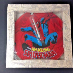 Glass Wall Clock Classic Marvel Comics Amazing SPIDER-MAN Large 13.75 NEW
