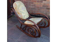 Antique wooden curled Michael Thonet style rocking chair