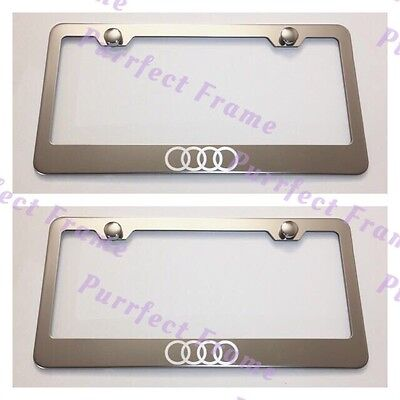 - 2X Audi Logo LASER Style Stainless Steel License Plate Frame Rust Free W/Caps