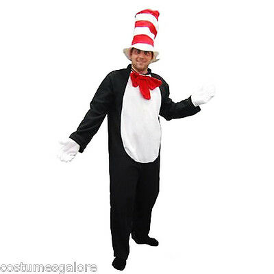 SW Mens Costume Fancy Dress Dr Seuss Cat in the Hat Jumpsuit Novelty Funny