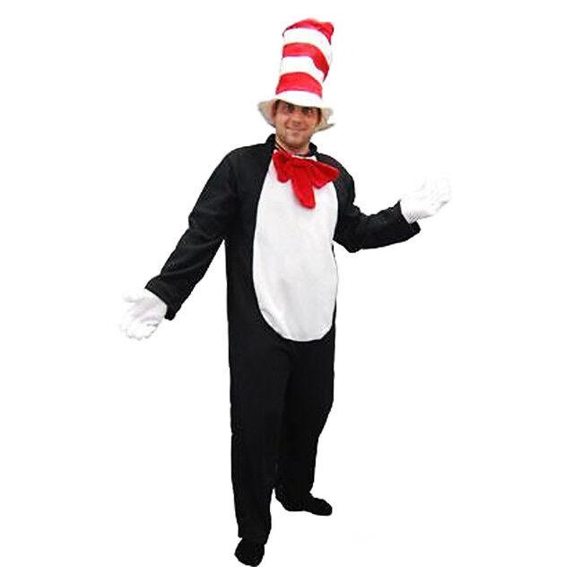 K890 Dr Seuss Cat in the Hat Jumpsuit Mens Womens Book Week Fancy Dress Costume