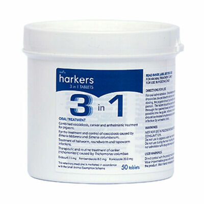 Harkers 3 in 1 tablets pills, cocci, canker and worms. Racing pigeon