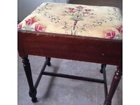Antique Piano Stool. Slide out drawer for music books.