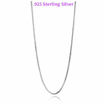 Jewellery - 925 Sterling Silver BOX Chain Necklace Lock-Stamped 925 Italy Stamped