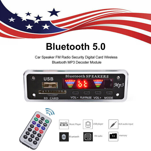 Wireless Bluetooth 5.0 12V MP3 WMA Decoder Board Audio Module USB Radio for Car